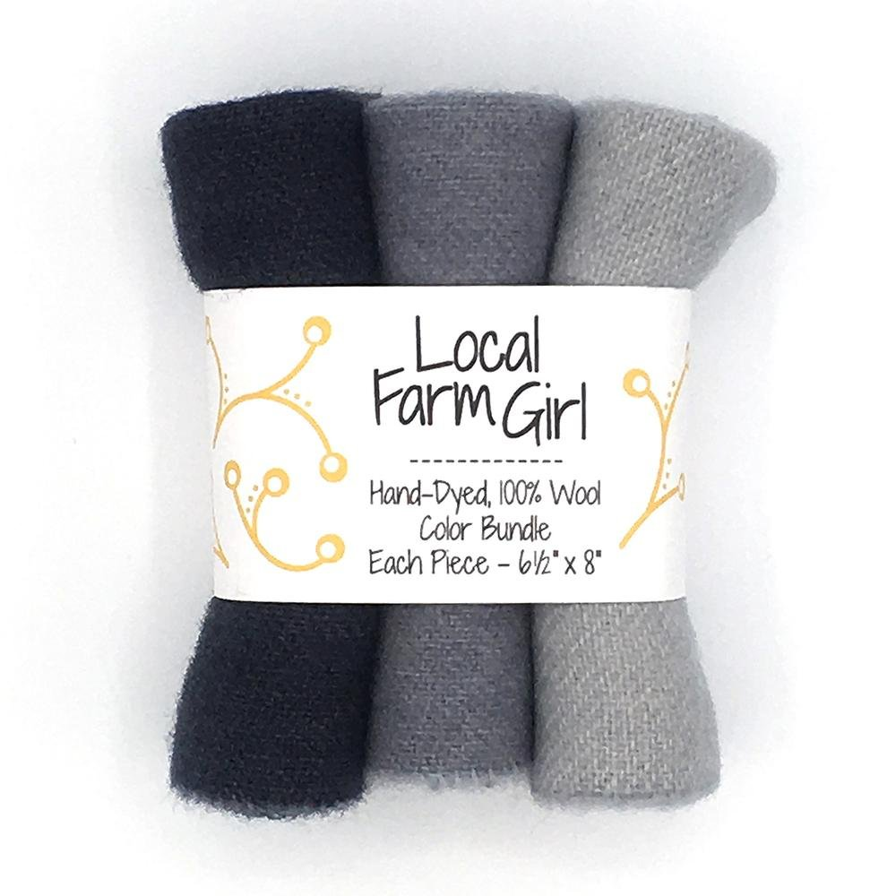 Hand-Dyed, 100% Wool Color Bundle Gray Lichen