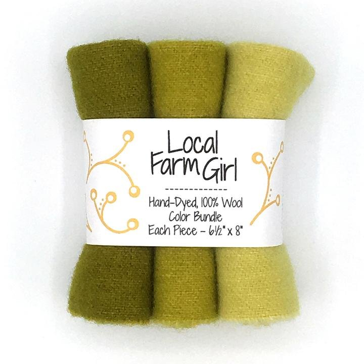 Hand-Dyed, 100% Wool Color Bundle Green Lichen
