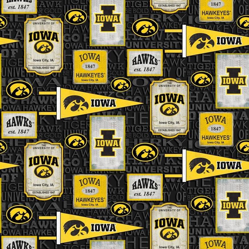 NCAA - University of Iowa Vintage Pennant Allover Cotton