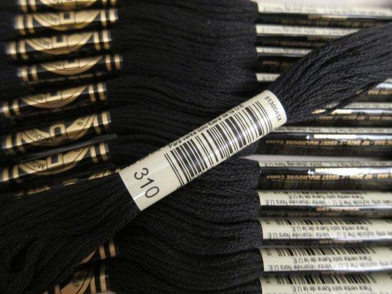 DMC Six Strand Embroidery Floss Black 310