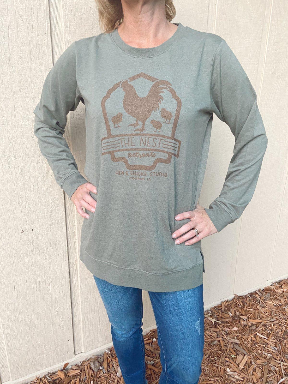 Long Sleeve: Lightweight Terry Heather City Green T-shirt