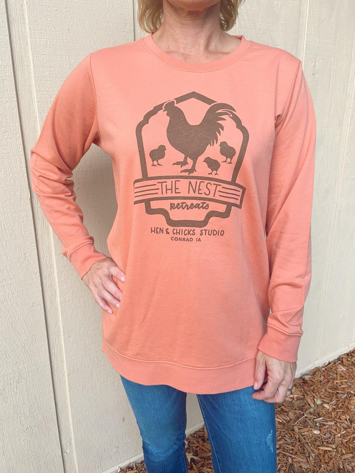 Long Sleeve: Lightweight Terry Terra Cotta T-shirt