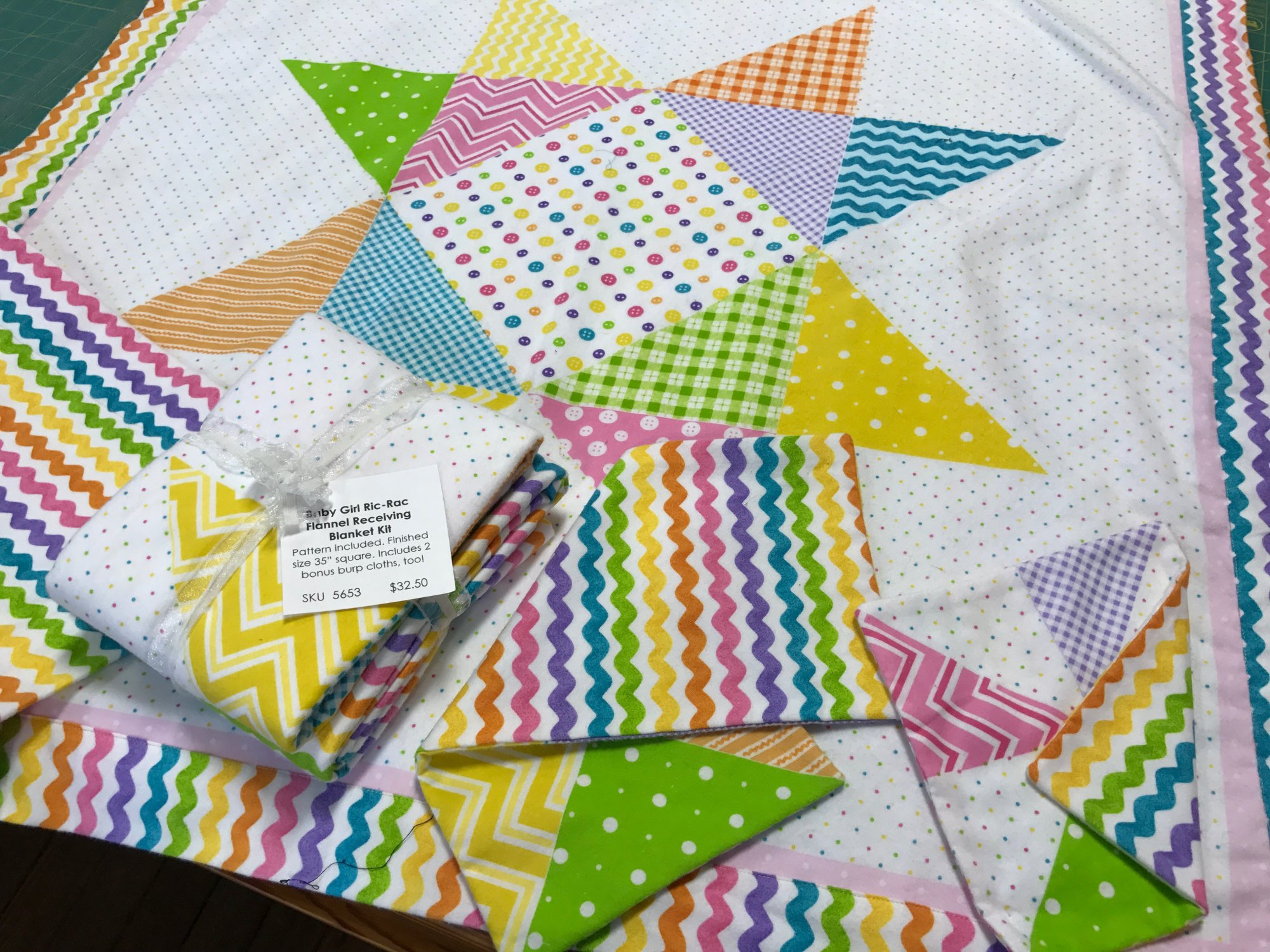 Baby Girl RicRac Flannel Receiving Blanket Kit