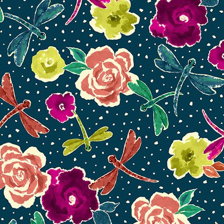 Ink & Arrow Zola flowers & Dragonflies Dark Navy 1649 26140N