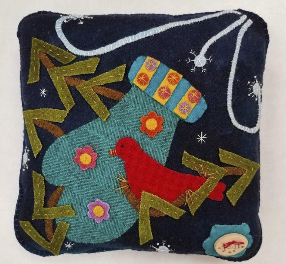 Rosebud's Cottage: Winter in Minnesota (January) Wool Pillow Downloadable Pattern