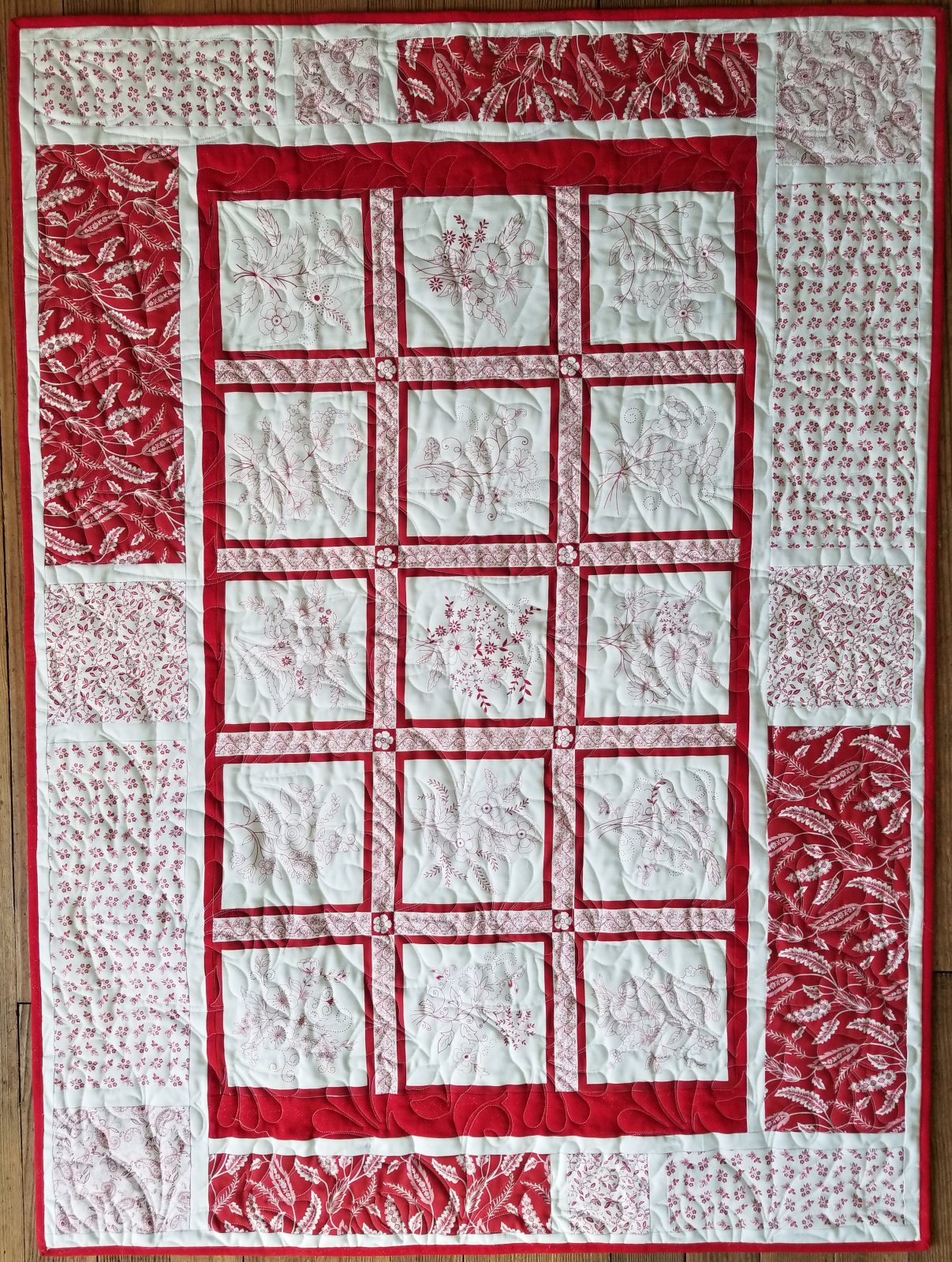 Message Board Red Work Fabric Kit