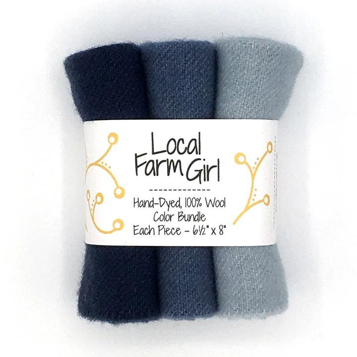 Hand-Dyed, 100% Wool Color Bundle Midnight Sky
