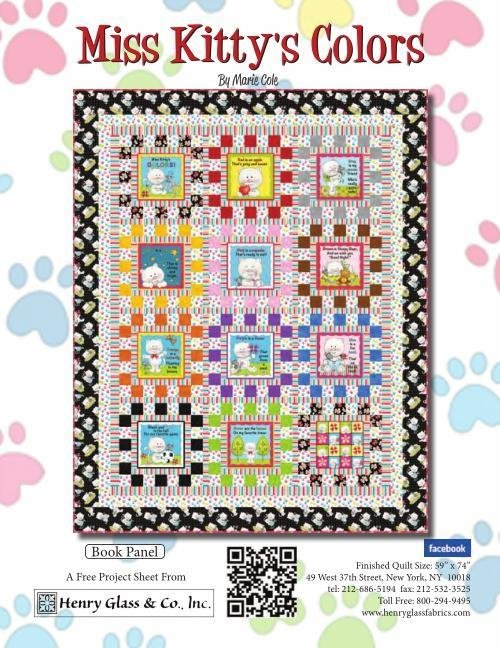 Miss Kitty's Color Book Panel FREE Pattern