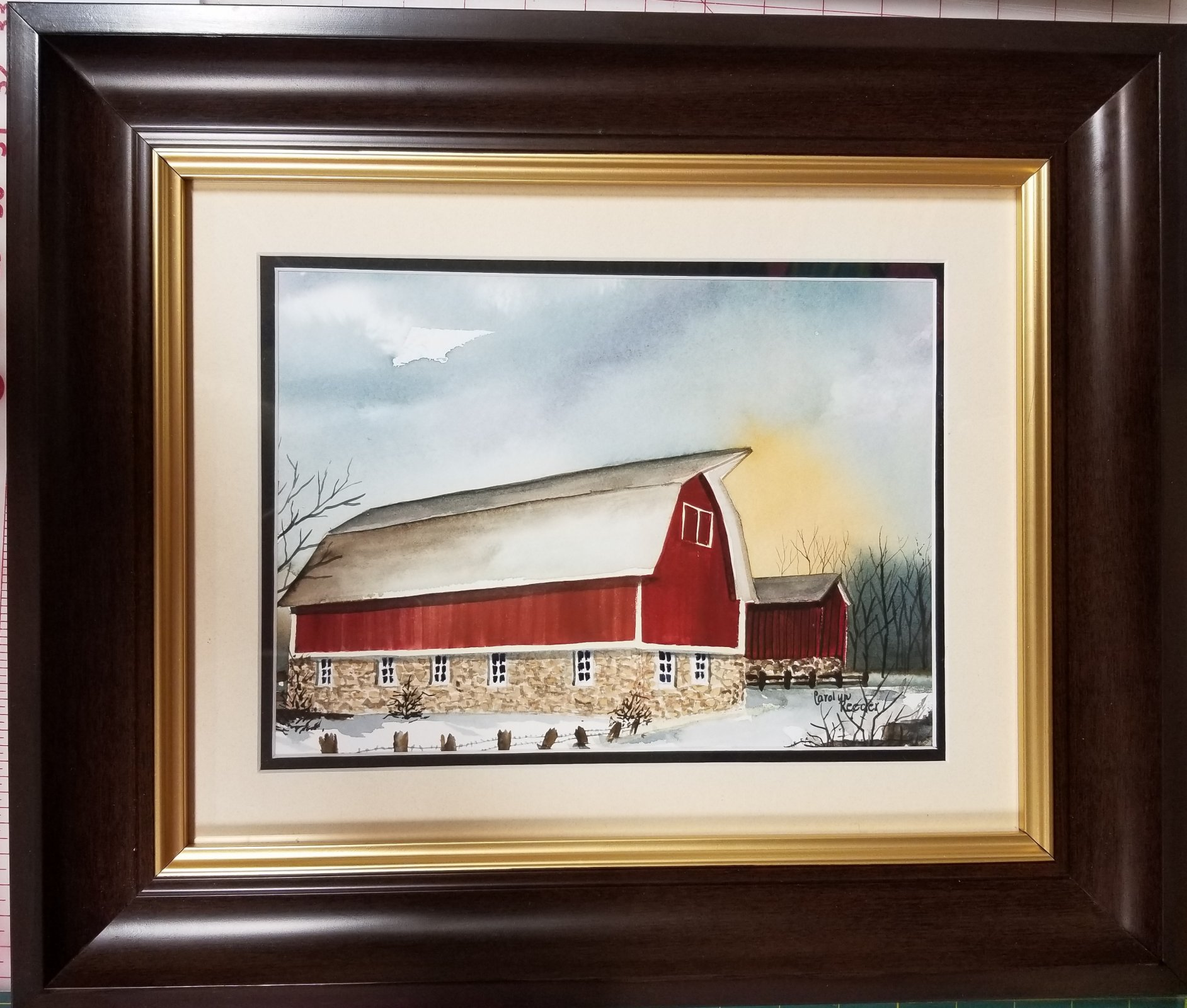 Original Watercolor Red Barn with Large Brown Frame