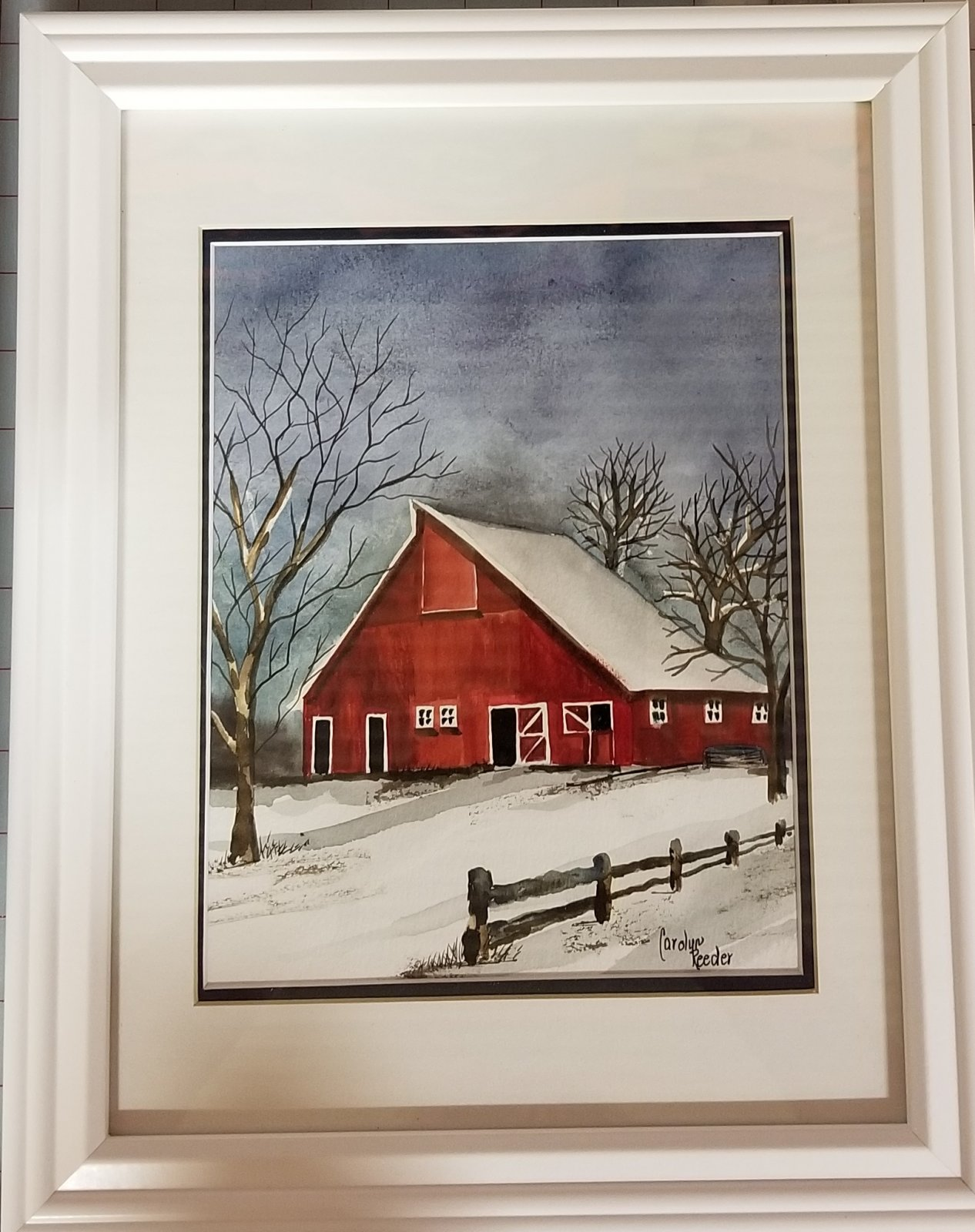 Original Watercolor White Frame with Red Barn 1