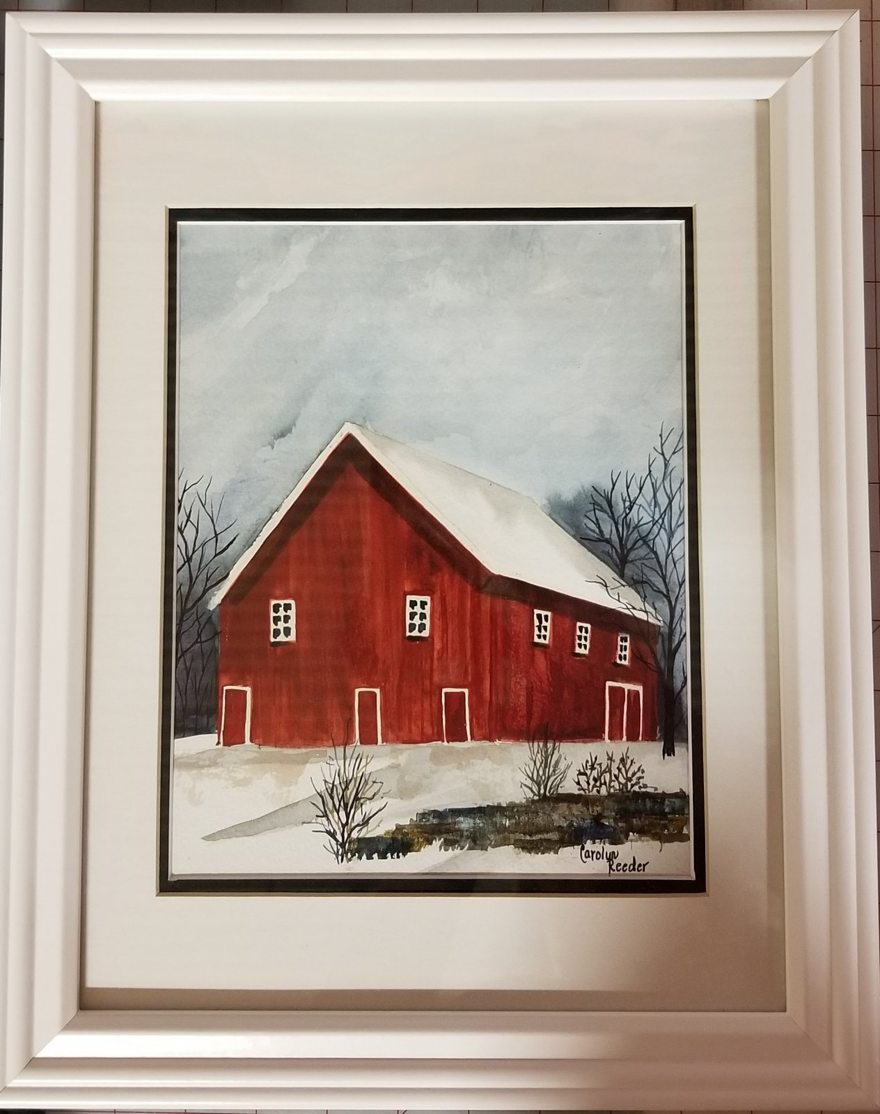 Original Watercolor White Frame with Red Barn 2 - copy