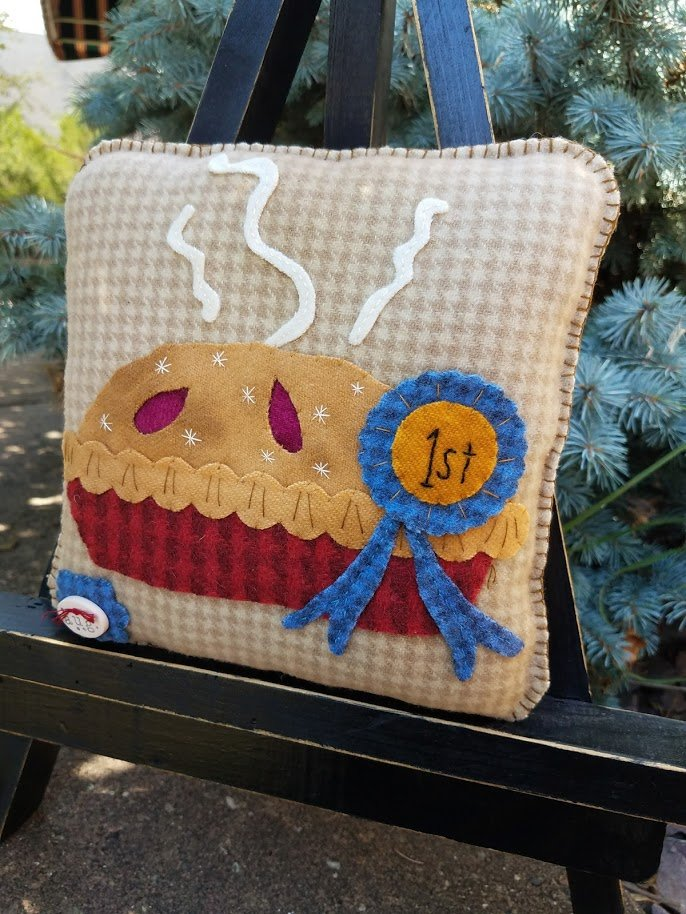 Rosebud's Cottage:  Prize Winner! (August) Wool Pillow Downloadable Pattern