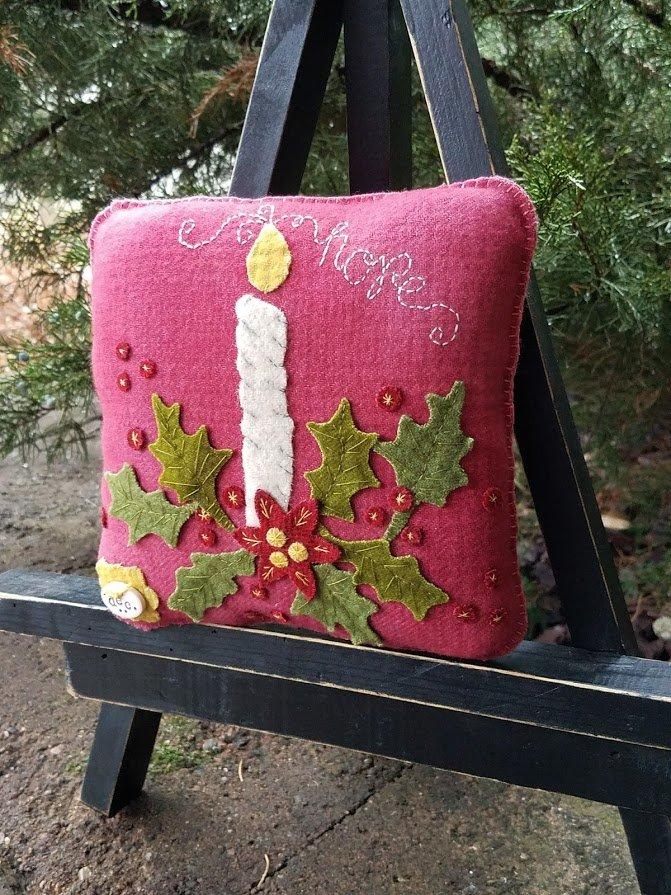 Rosebud's Cottage: Season of Hope (December) Wool Pillow Downloadable Pattern