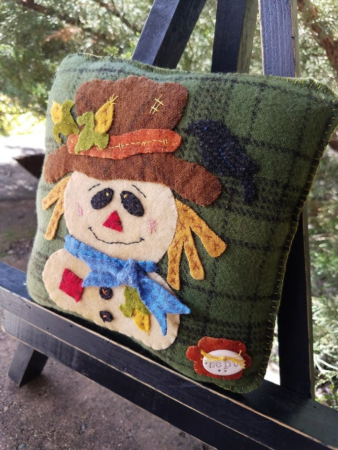Rosebud's Cottage:  Happy Harvest! (September) Wool Pillow Downloadable Pattern