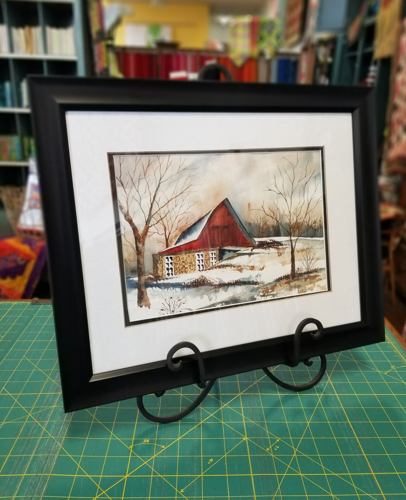 Original Watercolor Small Red Barn Horizontal