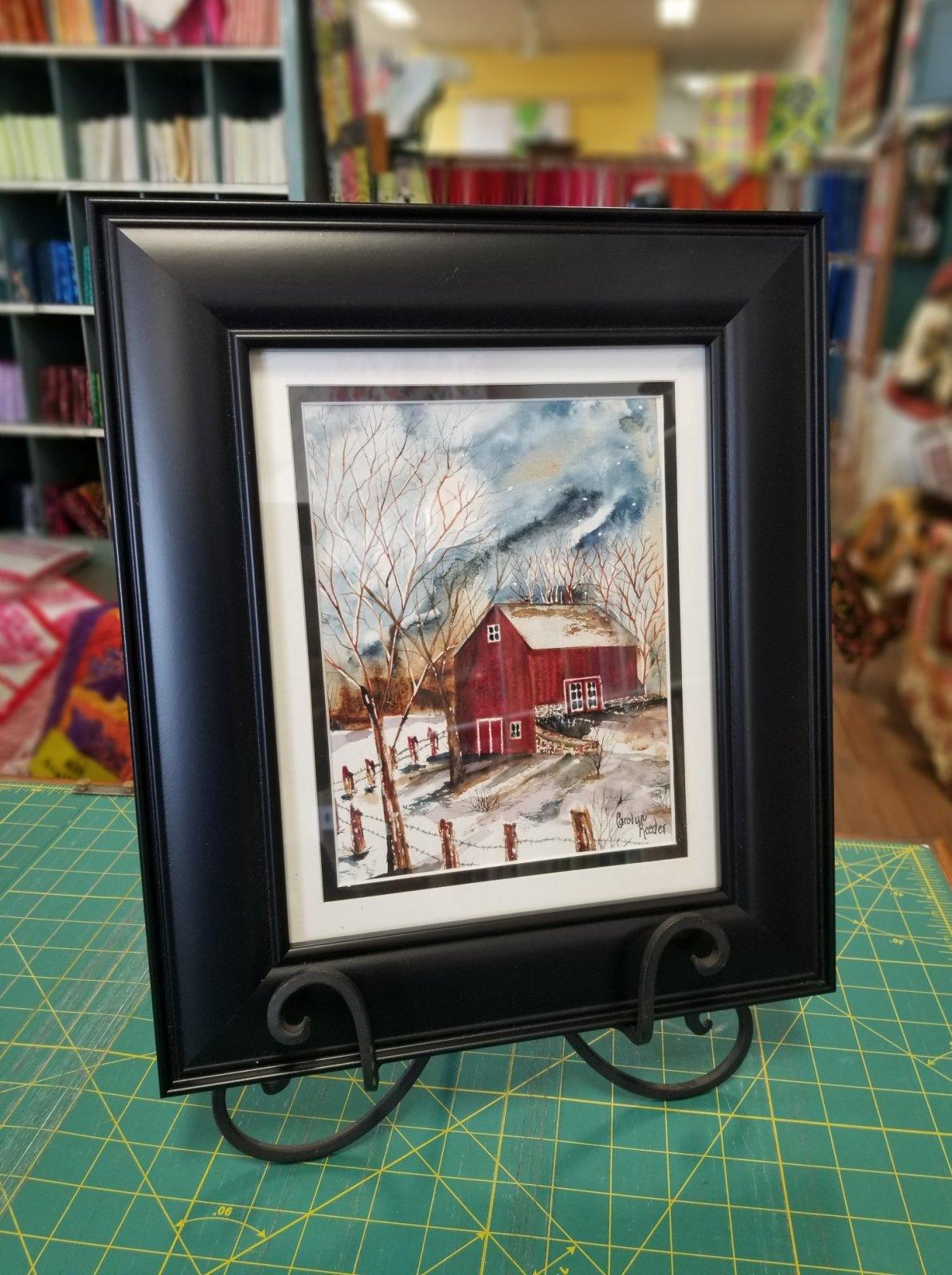 Original Watercolor Small Red Barn Vertical
