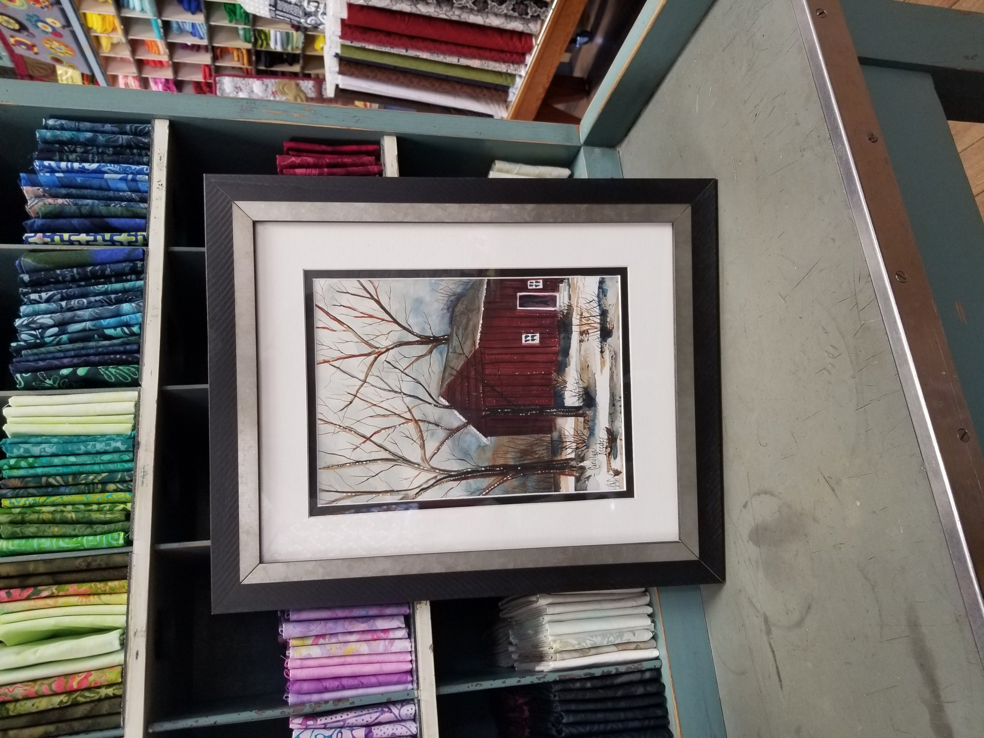 Original Watercolor Red Barn with Wood Frame and Metal inset