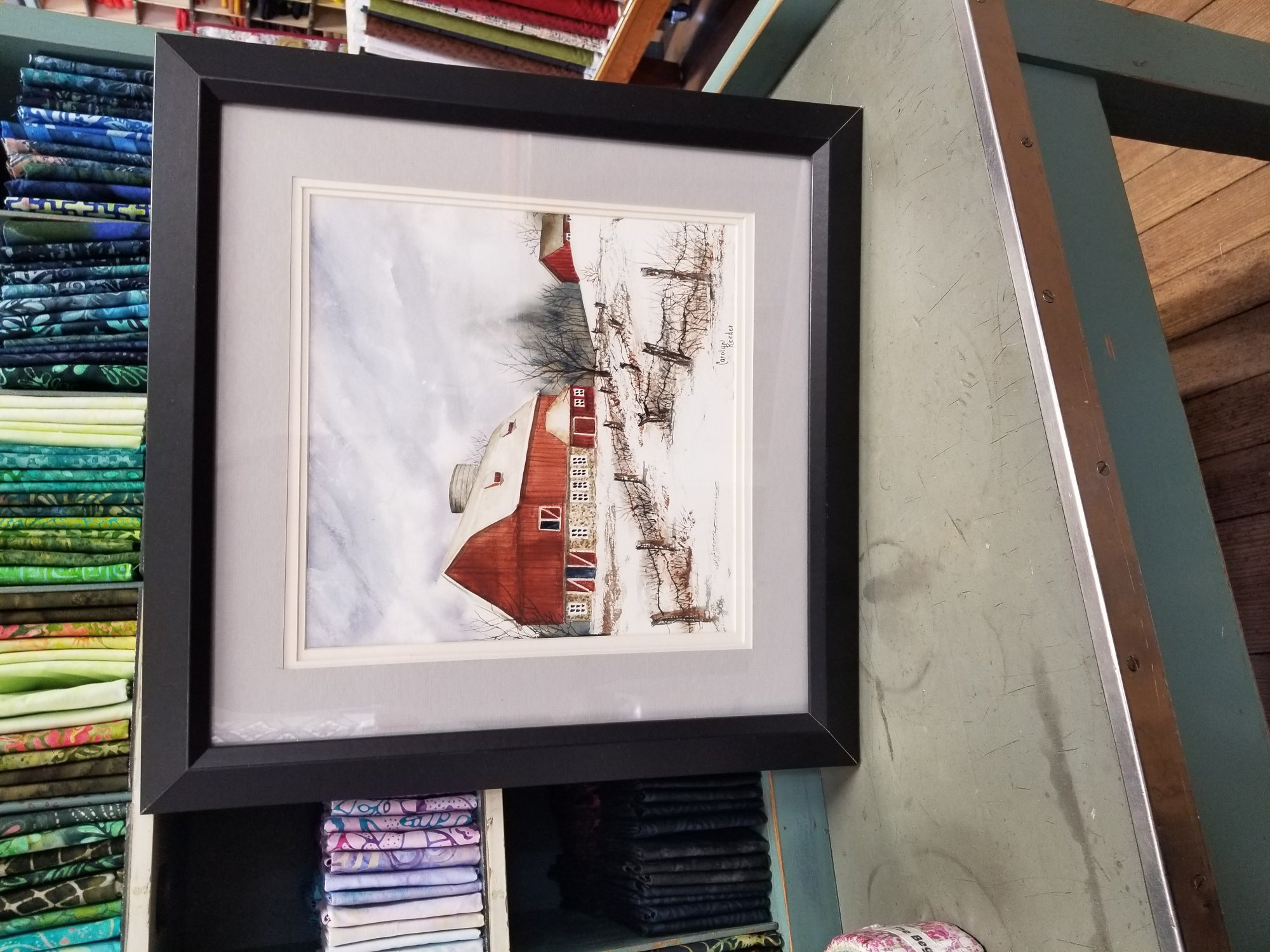 Original Watercolor Red Barn with Gray Mat and Square framed
