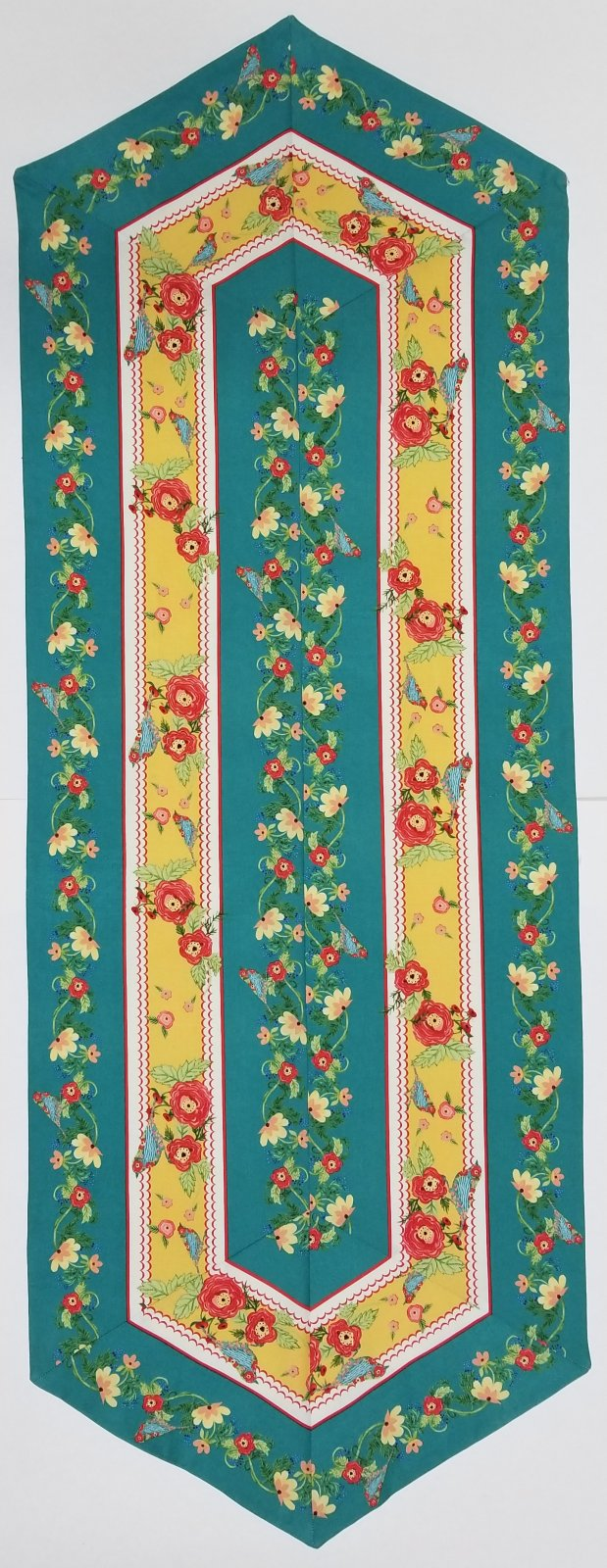 Easy Striped Teal Flower Table Runner KIt