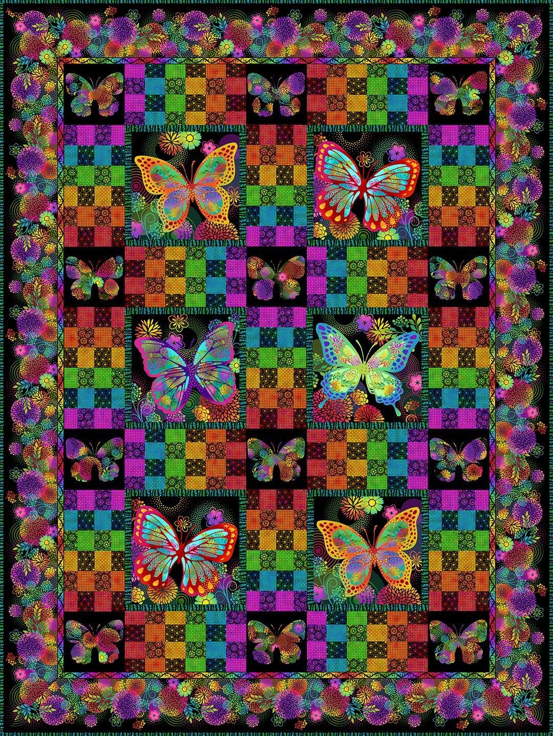 Unusual Garden Black Butterfly Quilt Kit