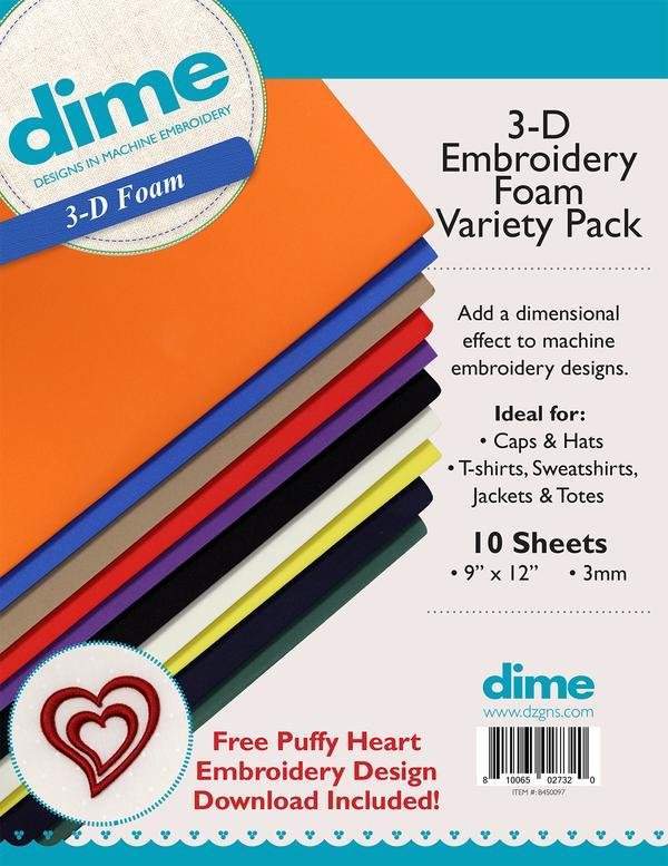 3-D Embroidery Foam Variety Pack (3mm, 10pk)