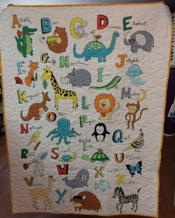 Alphabet Yellow Quilt