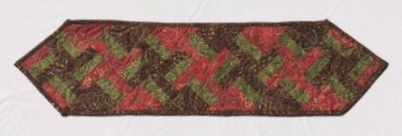 Basket Table Runner in Brown, Green, and Reds