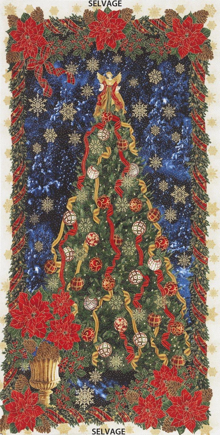 Timeless Treasures Holiday Tree Panel-Metallic