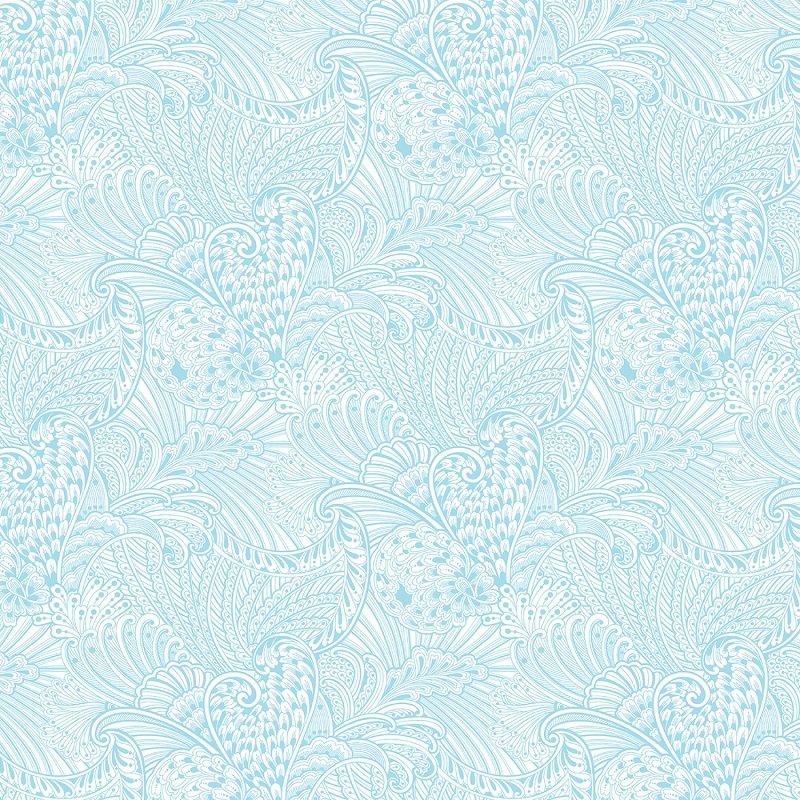 Peacock Flourish - Opulence in Tonal Light Teal by Ann Lauer for Benartex