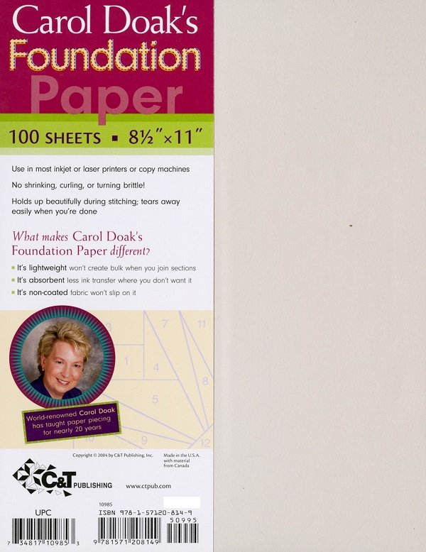 Foundation Paper (100 sheets at 8.5 x 11) by Carol Doak for C & T Publishing