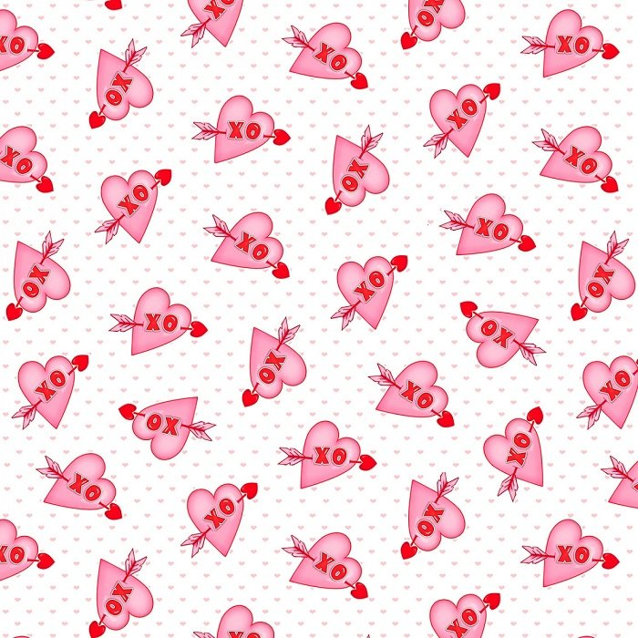 Love Struck - Hearts XO Valentines Day in White / Pink by Shelly Comiskey for Henry Glass