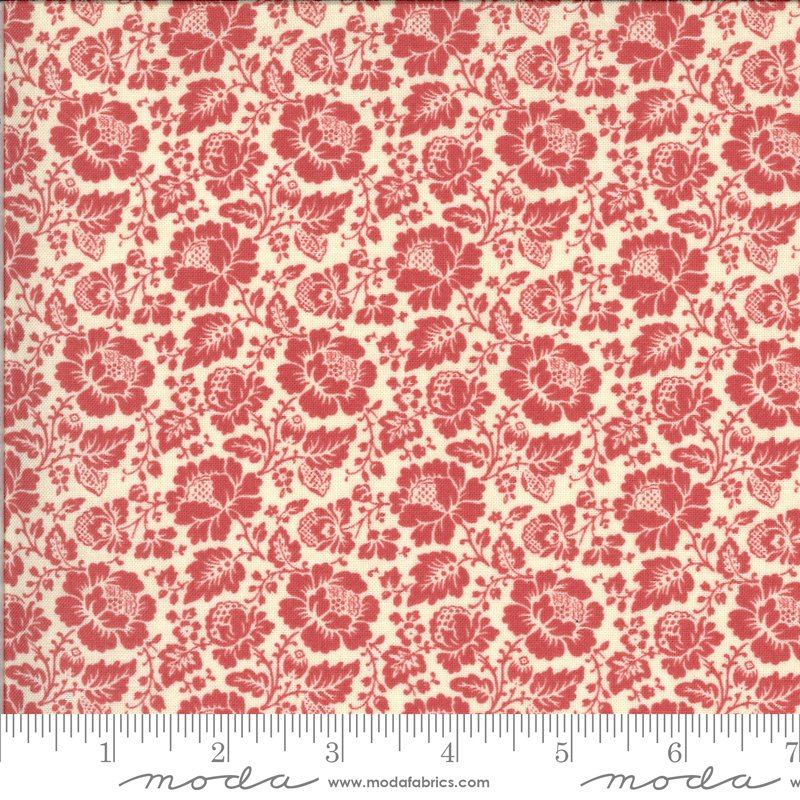 La Rose Rouge - Feligonde in Pearl and Faded Red by French General for Moda