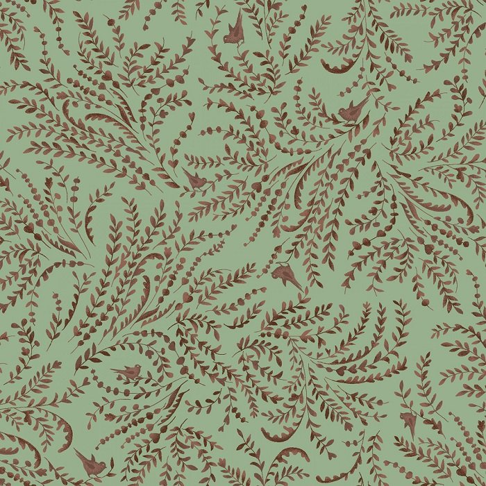 Sage & Sea Glass - Vintage Toile in Blue by Kim Diehl for Henry Glass