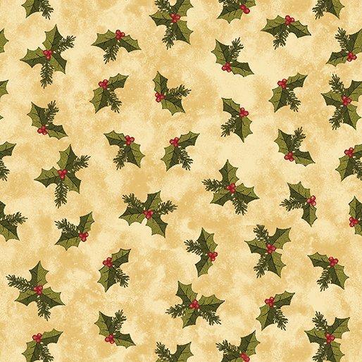 A Moose for Christmas - Jolly Holly on Sand by Cheryl Haynes for Benartex