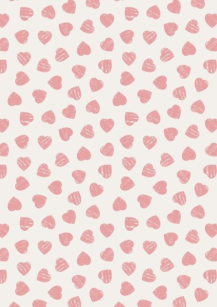 Dove House - Pink Hearts on Light Cream by Lewis & Irene