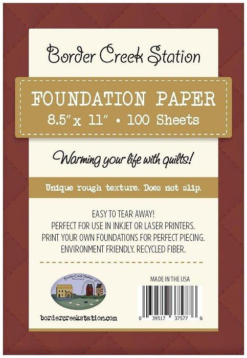 BCS Foundation Paper - 100 sheet pkg (8.5 x 11) by Border Creek Station Pattern Company