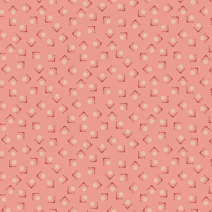Blush and Blue - Framed Polka Dots in Blush by Kim Diehl for Henry Glass