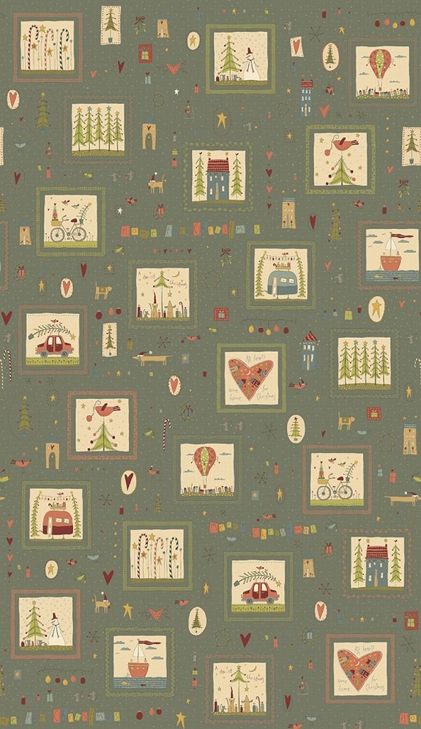 Home for Christmas - Small Blocks in Blue by Anni Downs for Henry Glass