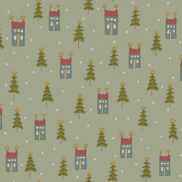 Home for Christmas - Mini Houses on Light Blue by Anni Downs for Henry Glass