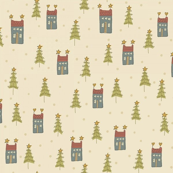 Home for Christmas - Mini Houses on Cream by Anni Downs for Henry Glass
