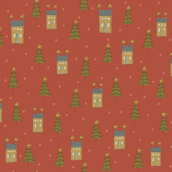 Home for Christmas - Mini Houses on Red by Anni Downs for Henry Glass