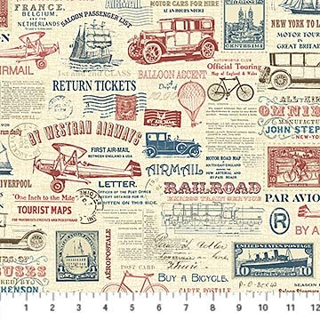 Vintage Travel - Travel Collage on Parchment by Deborah Edwards for Northcott