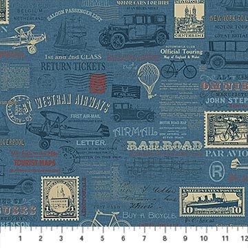 Vintage Travel - Travel Collage on Blue by Deborah Edwards for Northcott