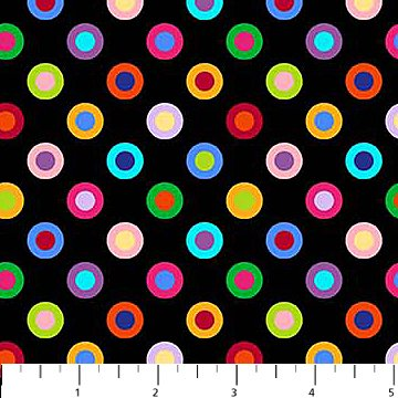 ColorWorks Concepts - Circled Dots in Multi on Black by Deborah Edwards for Northcott