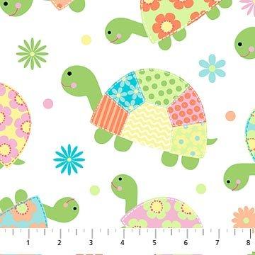 Bundle of Love - Aqua Baby Turtles on White by Deborah Edwards for Northcott