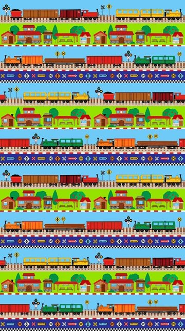 Connector Playmats - Train Tracks Border Print by Deborah Edwards for Northcott
