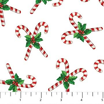 Jolly Old St. Nicholas - Candy Canes on White by Larry Jones for Northcott