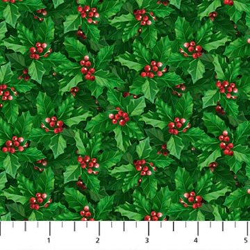 Jolly Old St. Nicholas - Overlapping Holly in Green by Larry Jones for Northcott