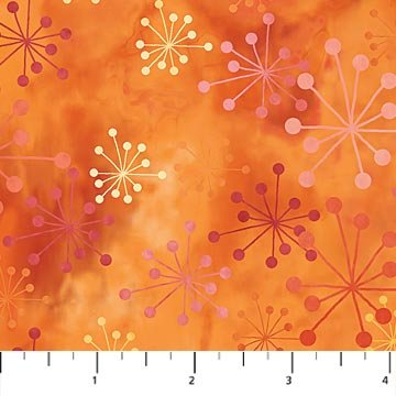 Cosmic Fusion - Starburst in Orange by Sue Beevers for Northcott
