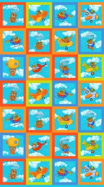Baby Zoom: Flying High - Mini Squares (6) by Julie Dobson Miner for Northcott